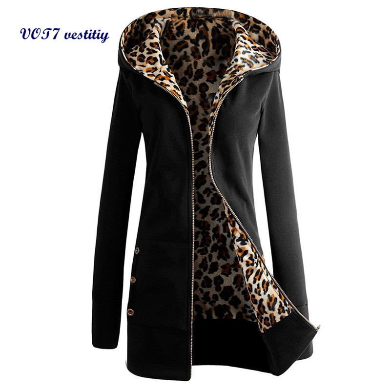 Warm and fashion women coat VOT7 vestitiy Women Plus Velvet Thickened Hooded Sweater Leopard Zipper Coat A 12