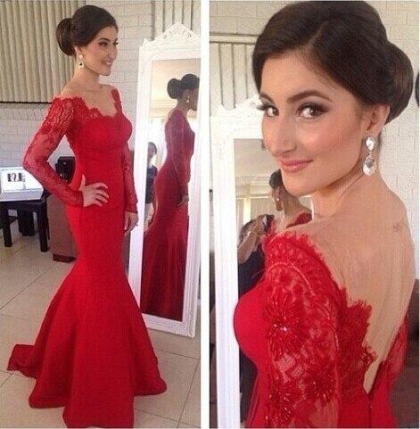 Сексуальное Красное Платье vestidos de festa новейшее кружевное платье с длинными рукавами для выпускного вечера длина до пола Атласное Вечернее бальное платье в виде русалки XY274