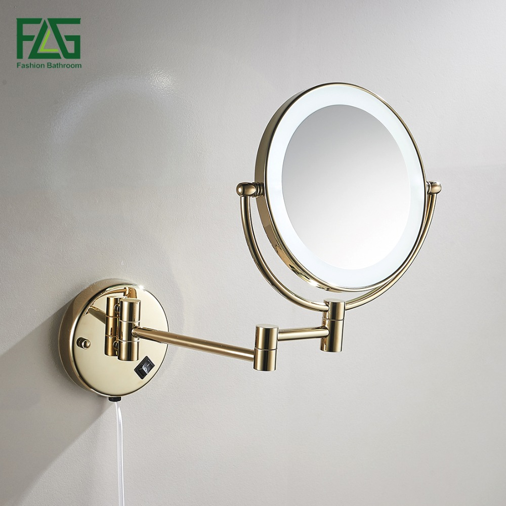 Golden Brass LED Light Makeup Dual Sides Mirrors Bathroom Wall Mount ...