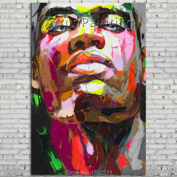 Palette knife portrait Face Oil painting Character figure canva Hand painted Francoise Nielly wall Art picture 06-10-2f1