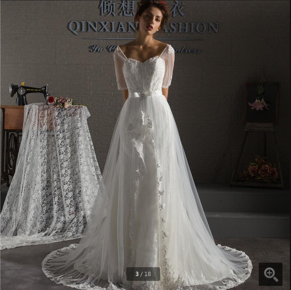 Wedding Dresses With Sweetheart Neckline And Sleeves: 2016 Glamorous Mermaid White Lace Half Sleeve Wedding