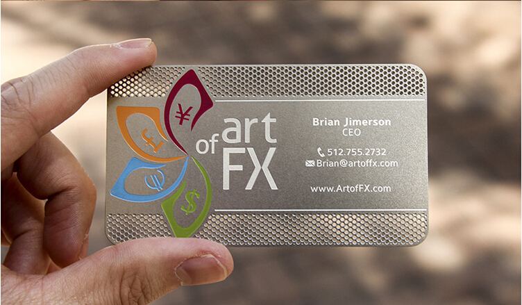 Metallic Color metal business cards 100pcs a lot Deluxe Metal Business Card Vip Cards Double side