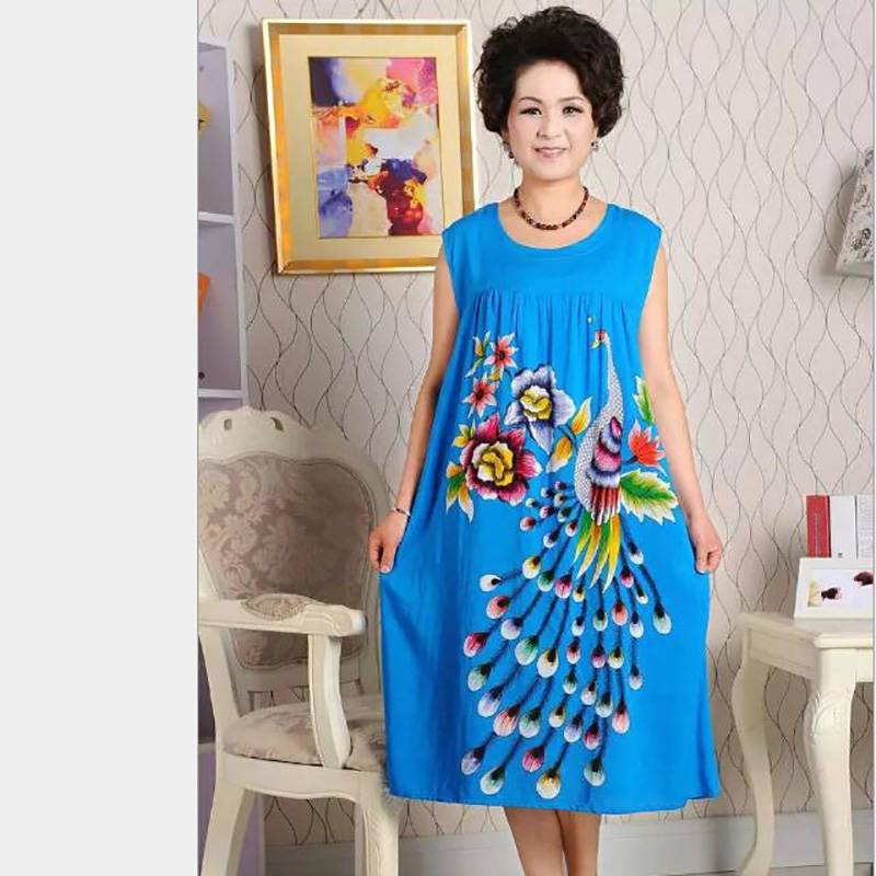 ... save off 9fb6d 3d5f2 New Fashion Nightgown Womens 100% Cotton Sleepwear  Sleeveless Round Neck Knee ... 8d57d6539