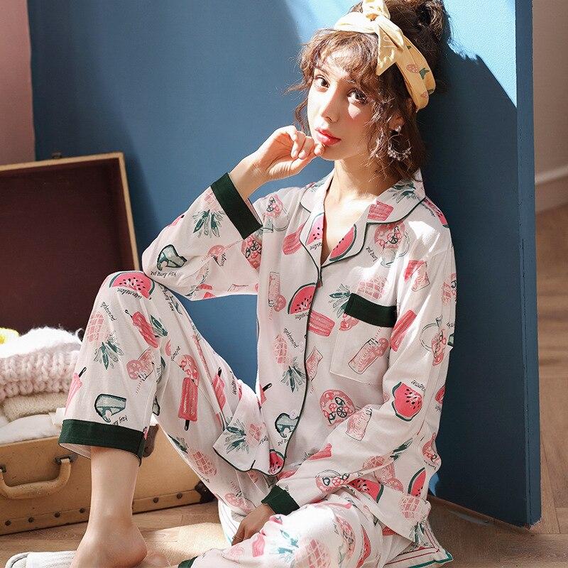 JULY'S SONG Women Cotton Pajamas Sets Spring Autumn Winter Long Sleeve Sleepwear Printing Pajamas For Woman 2  Pieces Homewear