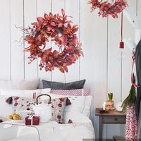 New arrivals 50CM Autumn Maple Leaf Berry Wreath Thanksgiving Halloween Door Home Decor