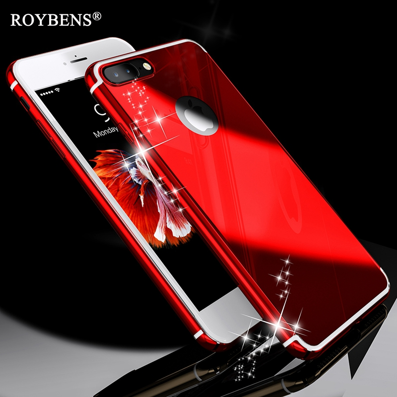 brand new 1fa48 51127 Roybens For iPhone 6S Luxury Case 6 Plus Bling Glossy Mirror Cover For  iPhone 6S Plus Metal Skin Slim Logo Circle Black Red Gold