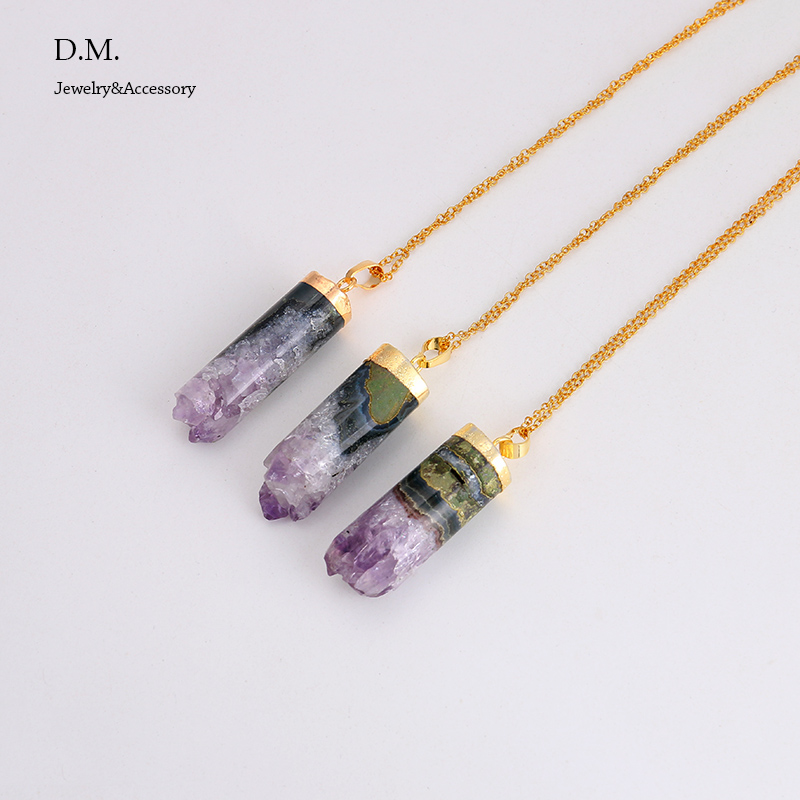 raw purple wire february birthstone necklace stone crystal amethyst wrapped media
