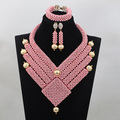New Wonderful Turquoise Beads Pink African Jewelry Beads Set Unique Design Indian Wedding Beads Jewerly Sets Free ShippingABL881