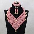 Nuevo Maravilloso Bolas Turquesa Rosa Granos de La Joyería Africana Set Diseño Único Indio Cuentas de Boda Jewerly Envío ShippingABL881