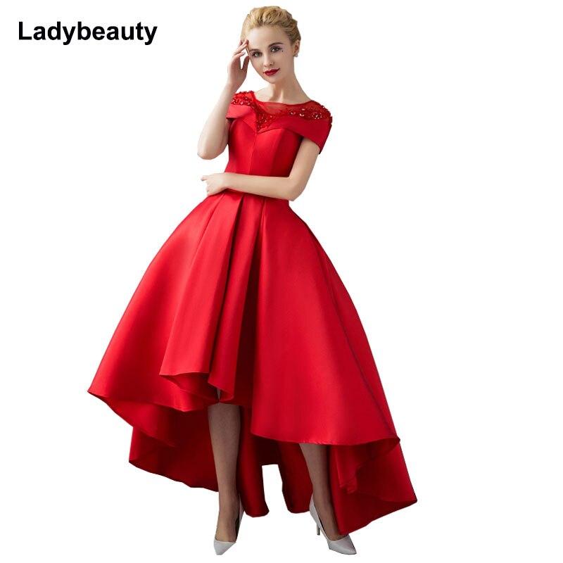 Asymétrique Robe De Soirée robes De grande taille 2018 Luxe Bal Robe Formelle À Manches Courtes Robe De Soirée Formelle Robe De Soirée - 5