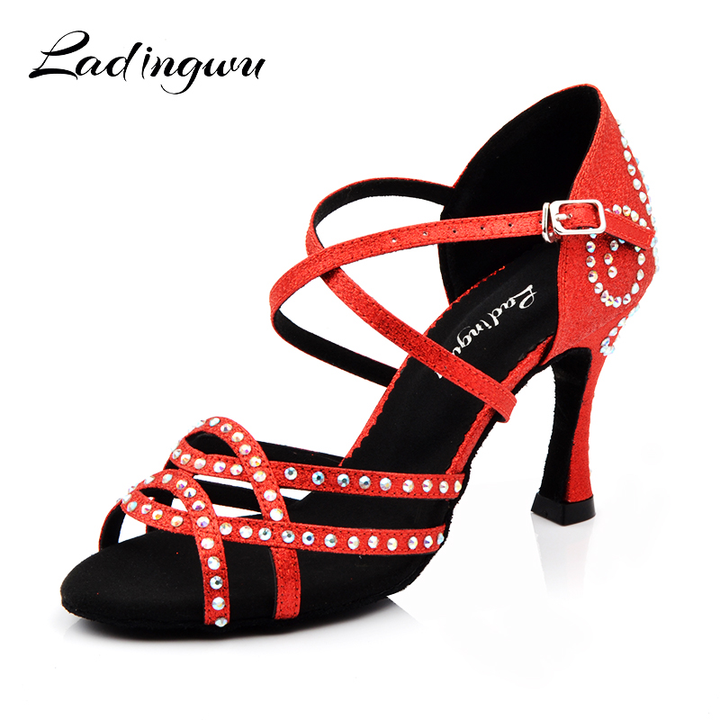 Ladingwu zapatos baile mujer latino Red Shoes Woman Latin Dance Shoes Glitter Rhinestone Salsa Ballroom Dance Shoes Heels 9cm цена
