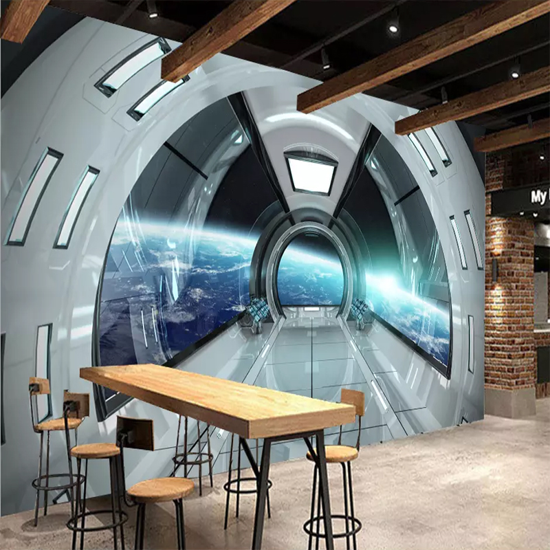 Custom Size Modern 3D Character Universe Space Capsule Mural Home Decor Mural Art Living Room TV Background 3D Wall Paper Roll