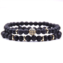 HYHONEY 2pc/sets Natural stone Bracelet men Micro Pave CZ 8mm Disco Ball Charms Bracelets for women Men jewelry viking bijoux