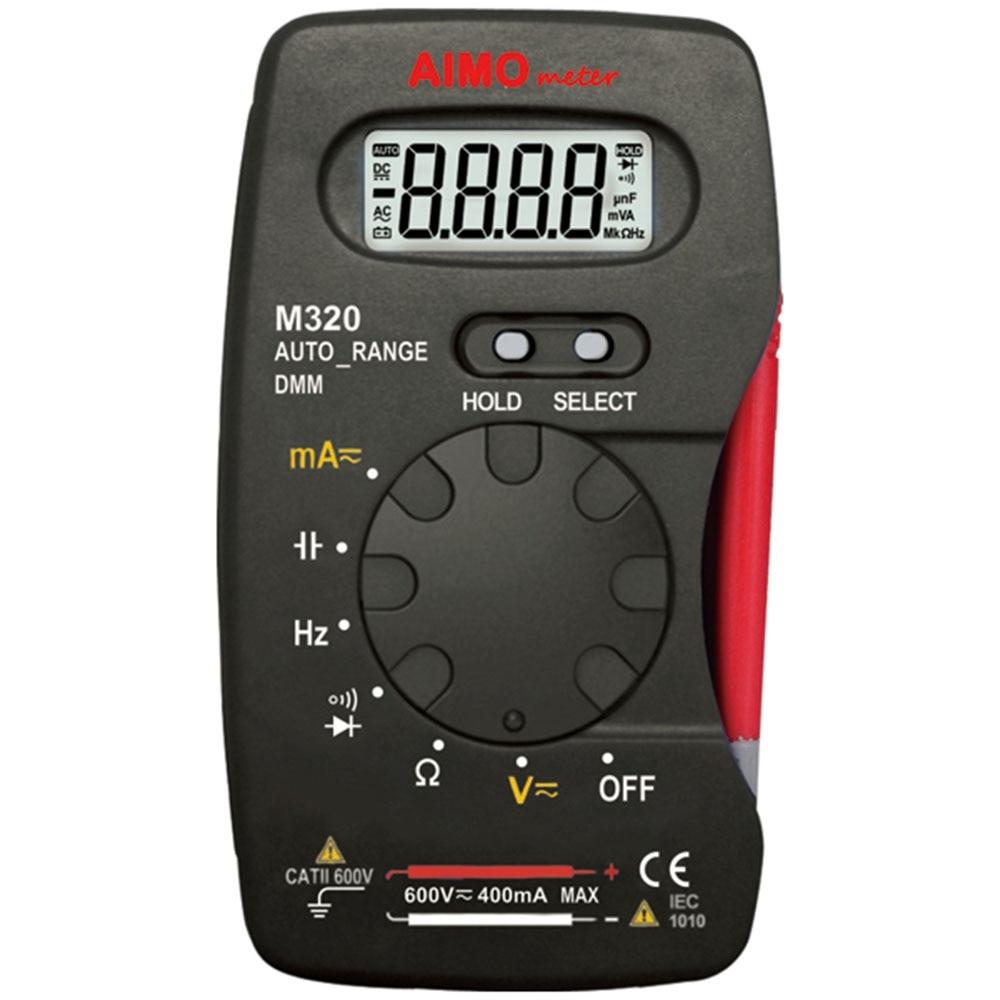AIMO M320 LCD Digital Multimeter 4000 counts AC/DC Ammeter Voltmeter Ohm Portable Meters voltage meter aimo m320 pocket meter auto range handheld digital multimeter