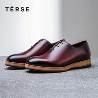 TERSE_100% Handmade Shoes Genuine Leather Men Casual Shoes Luxury Designer cowhide Leather Men`s shoes 1559 1