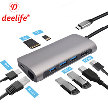 Deelife USB C HUB USB-C to 3.0 HUB HDMI RJ45 Type C Adapter ( for MacBook Pro Air Samsung Dex Huawei P30 Pro ) USBC Type-C HUB