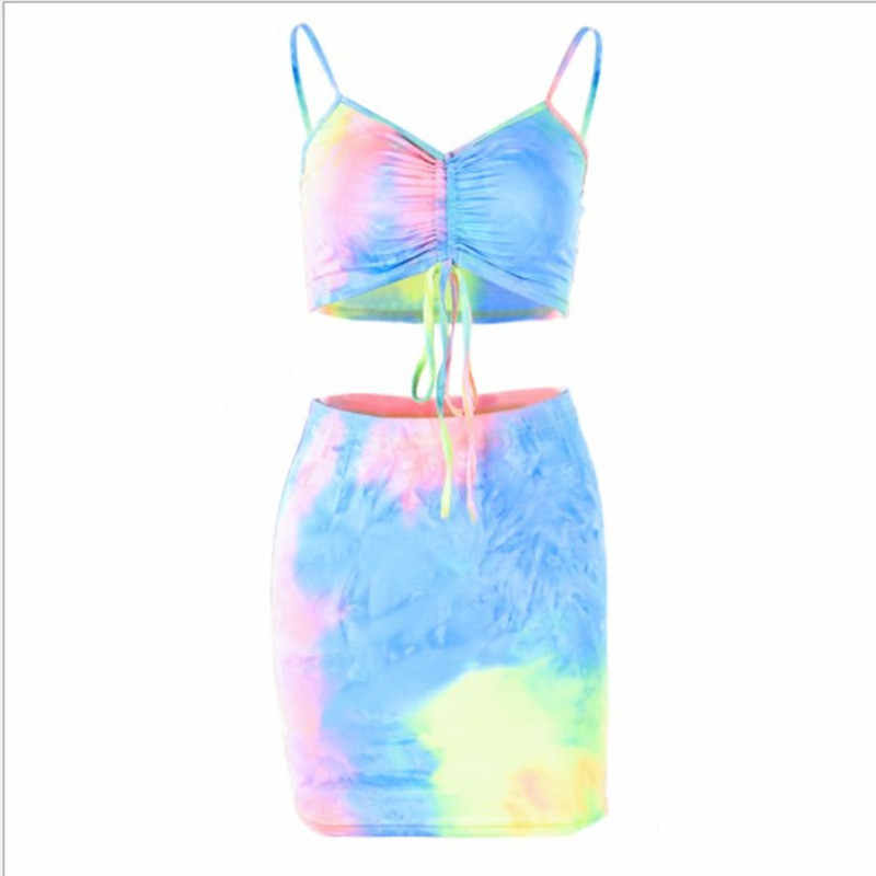 women spaghetti straps tie dye print sexy camis skirt two 2 piece set 2019 summer women fashion party club holiday sets