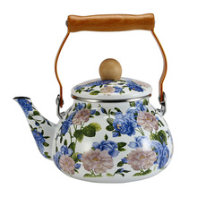 1.5L Korea Style kettle Portable Enamel Tea pot  Can Be Used On Electromagnetic Oven Or Natural Gas With Wooden Handle