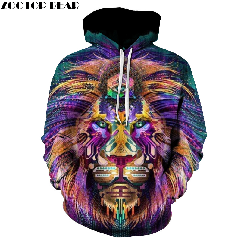 New Fashoin Colorful Lion Printed Hoodies Men Women Sweatshirts 6xl Plus size Extend Pullover Autumn Quality