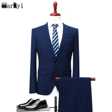 MarKyi 2017 fashion solid mens suits with pants plus size 5xl single button interview suit slim fit men business
