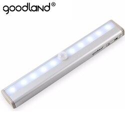Goodland движения Сенсор светодиодный свет ночник 10 светодиодов Беспроводной гардероб огни 4 * aaa Батарея настольная лампа шкаф книжный шкаф све...