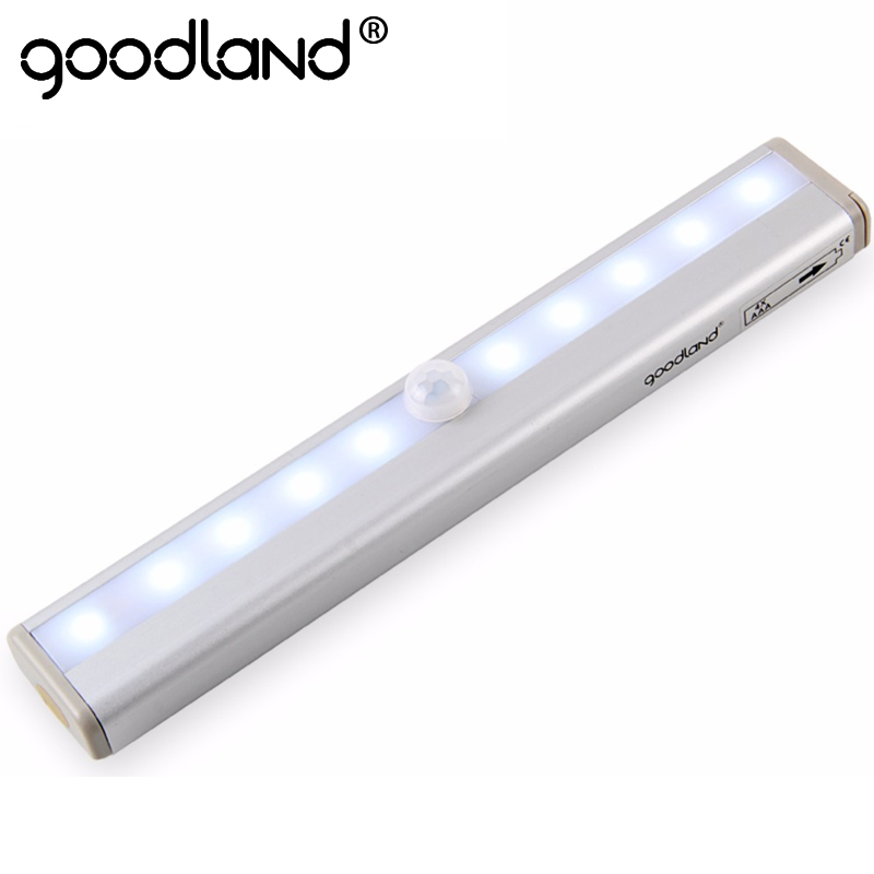 Goodland-veilleuse à 10 LED sans fil, lampe de Table à piles, armoire ou bibliothèque, 4 x AAA, détecteur de mouvement LED