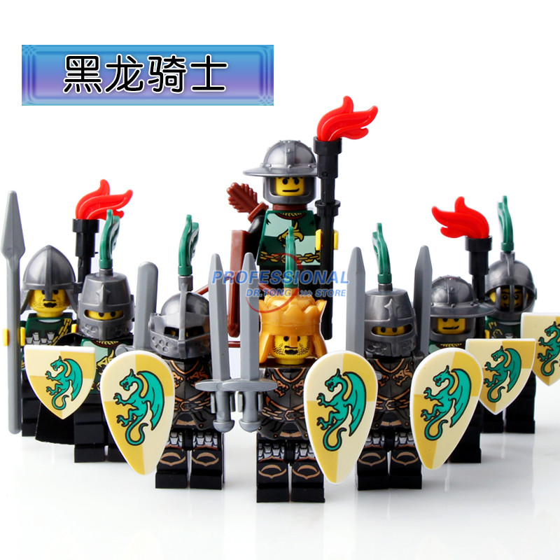 DR TONG Black Dragon Kingdom Medieval Castle Knights with Weapons Figures Classic Building Blocks Child Toys