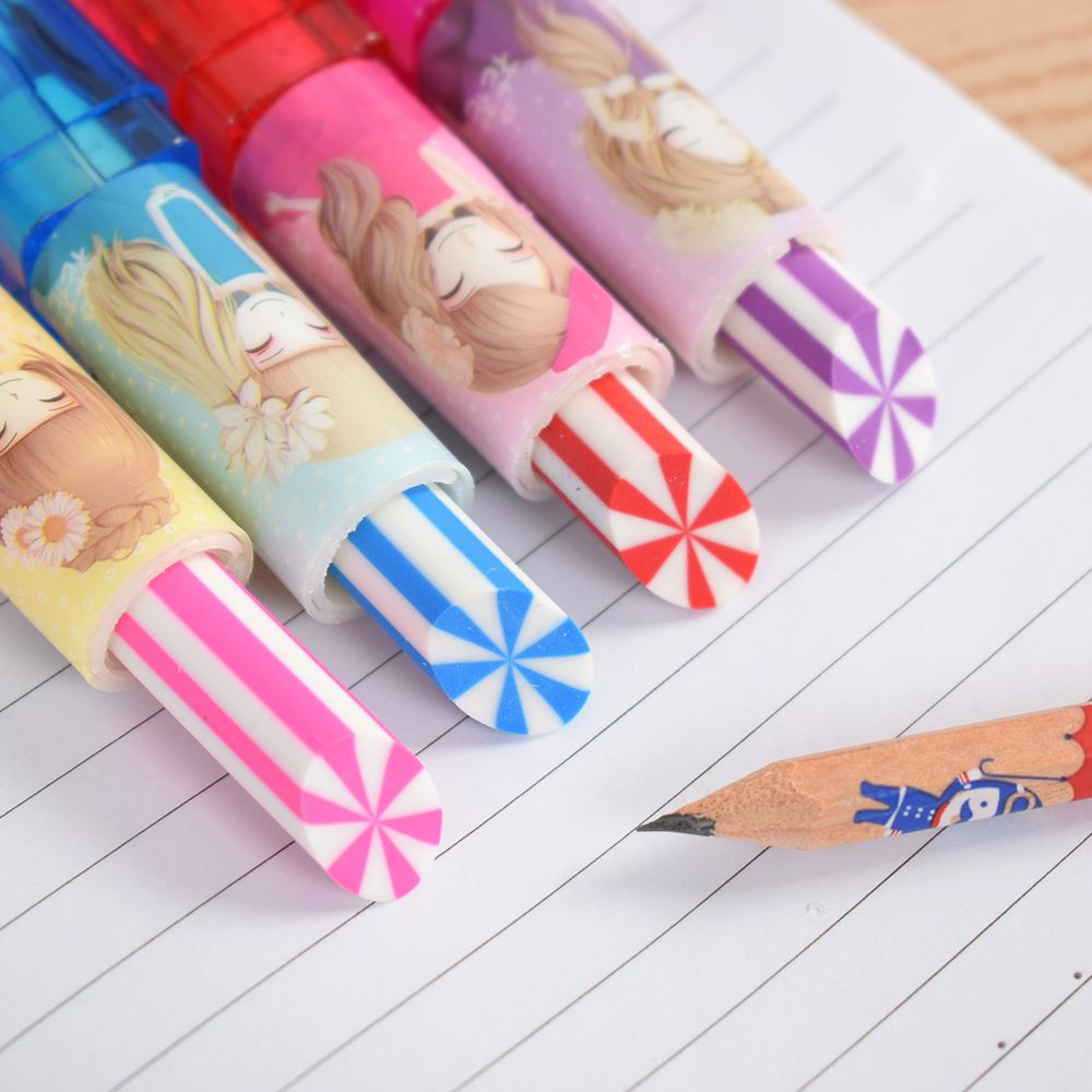 Viesky Colorful Cute Rotary Lipstick Rubber Eraser Student Stationery Pencil Kids Students Gift