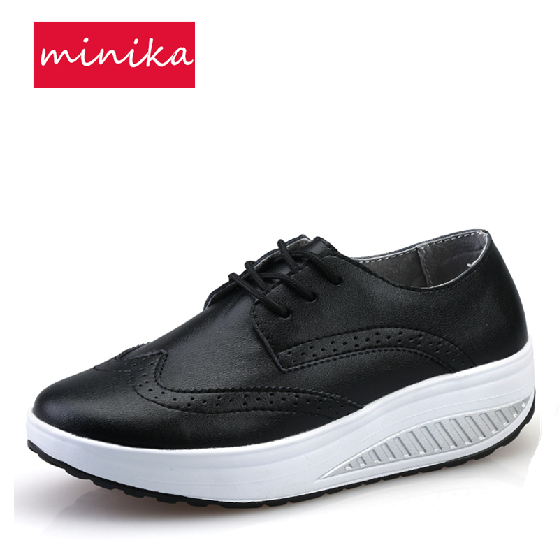 PU  Spring Autumn Height Increasing Women Toning Shoes Black Thick Soles Wedge Swing Shoes Lacing Sneakers