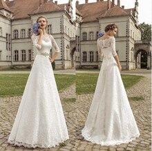 Купить с кэшбэком White Lace Wedding Dresses 2015 Bateau 3/4 Long Sleeves A line Wedding Gowns Custom Beach Dresses For Wedding Cheap Bridal Dress