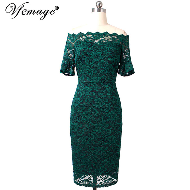 Vfemage Women Elegant Flare Trumpet Bell Sleeve Lace Vintage Pinup Casual Work Office Party Bodycon Sheath Dress 9307 2