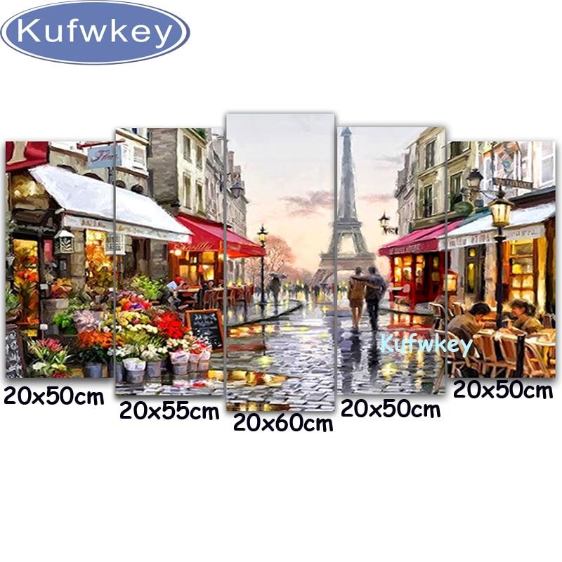 5 pz Cucito Fai Da Te Artigianato Paesaggio Pittura Diamante Paris Street Pittura Diamante Ricamo Trapano Piazza Mosaico Immagine