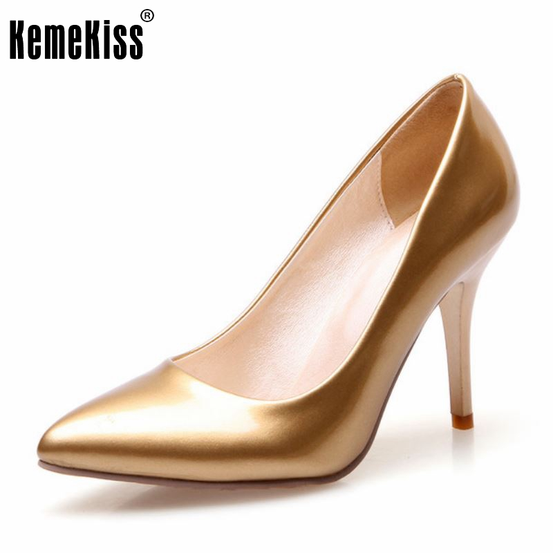 kemekiss women pumps thin high heels pointed toe shoes woman wedding party shoes gold silver court