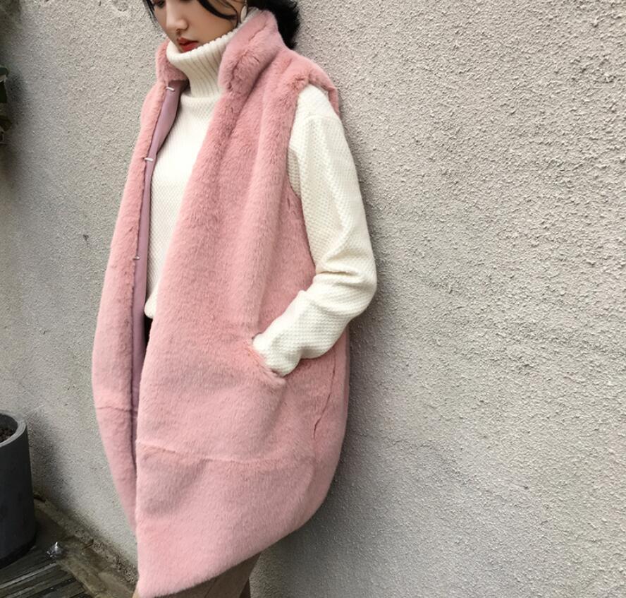 Cappotto Di Rosa 2018 In Pelliccia Femminile Beige Faux Gilet Mandarino grigio Sciolto Inverno Imitazione Coreano Autunno New colore cachi E il Collare Del Nero Volpe wgqgx4