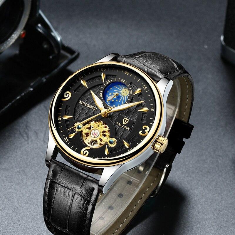 Tevise Automatic Self Winding Tourbillon Mechanical Watch Fashion Casual Leather Wristwatches Relogio Automatico Masculino T820B