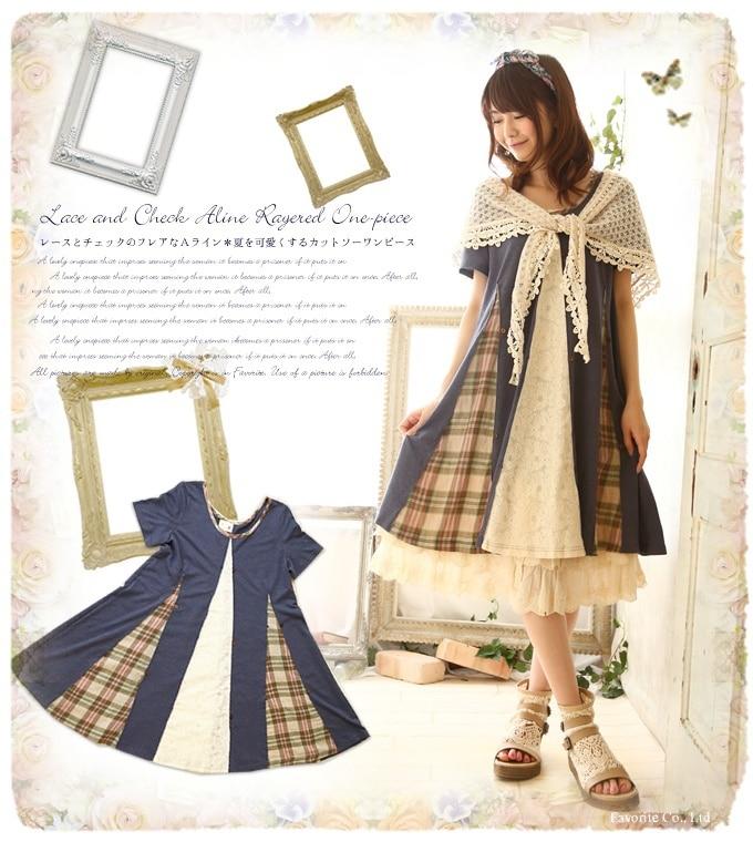 Mori Girl Vintage Lace Plaid A-line Harajuku One-Piece Dress Japan Mori Lolita Loose Plus Size Novelty Casual Dress Women Faldas girl
