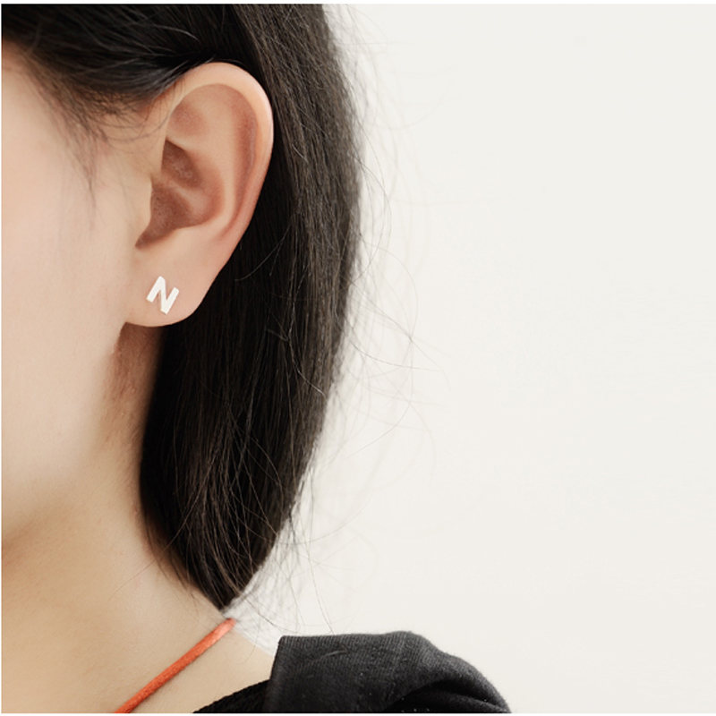 femme letter dianshangkaituozhe donna triangle chain attract bohemian item jewelry v orecchini chevron steel earring stud stainless