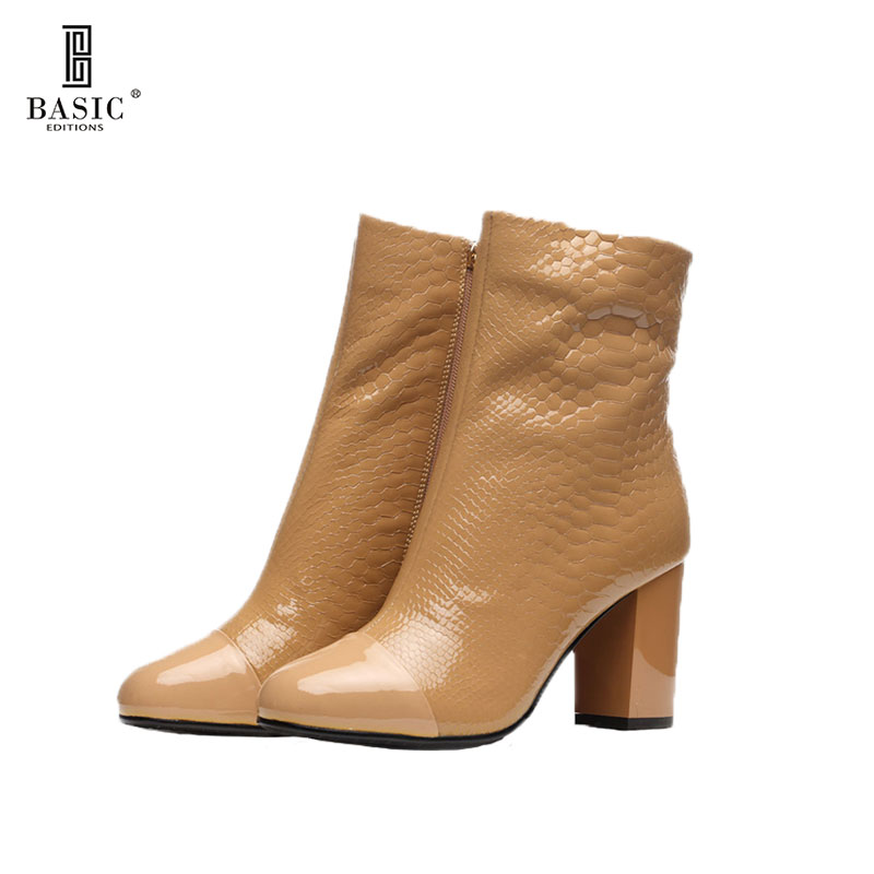 BASIC EDITIONS Women Autumn Winter Ankle Boots High Heel Patent Leather Zippers Short Boots Brown F3588-50 basic editions women dark grey suede leather spike high heel chain accessories winter long boots 1105 1422 aj91