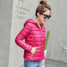 Winter hooded duck down Jacket women goose down Coat female down Parka outerwear slim overcoat Portable casual hooded down coats