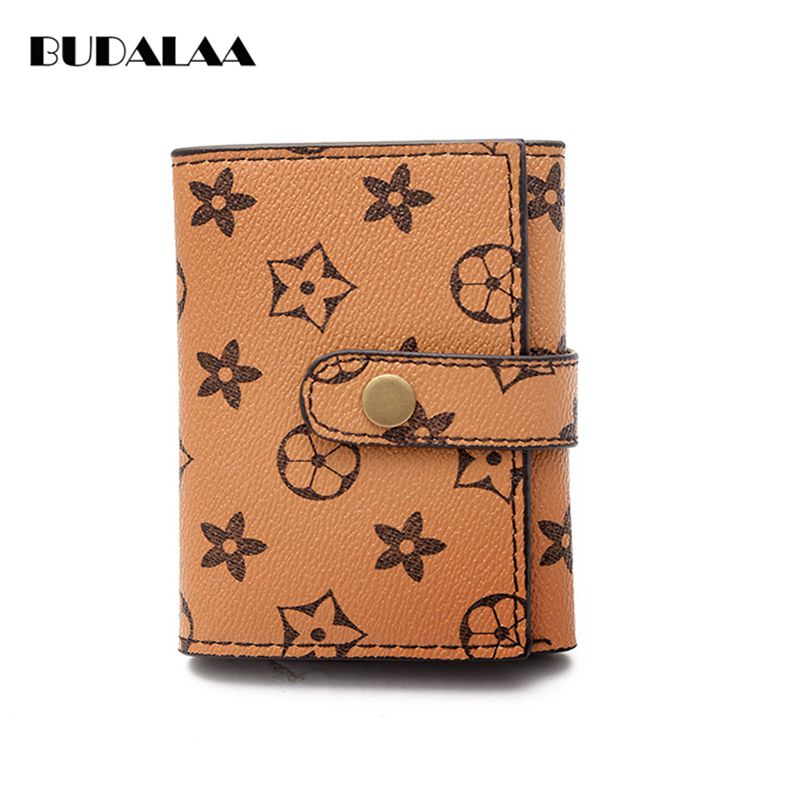 Budalaa PU Leather Short Women Wallet Stars Kawaii Money Clip Key Holder Soft Totes Coin Purse