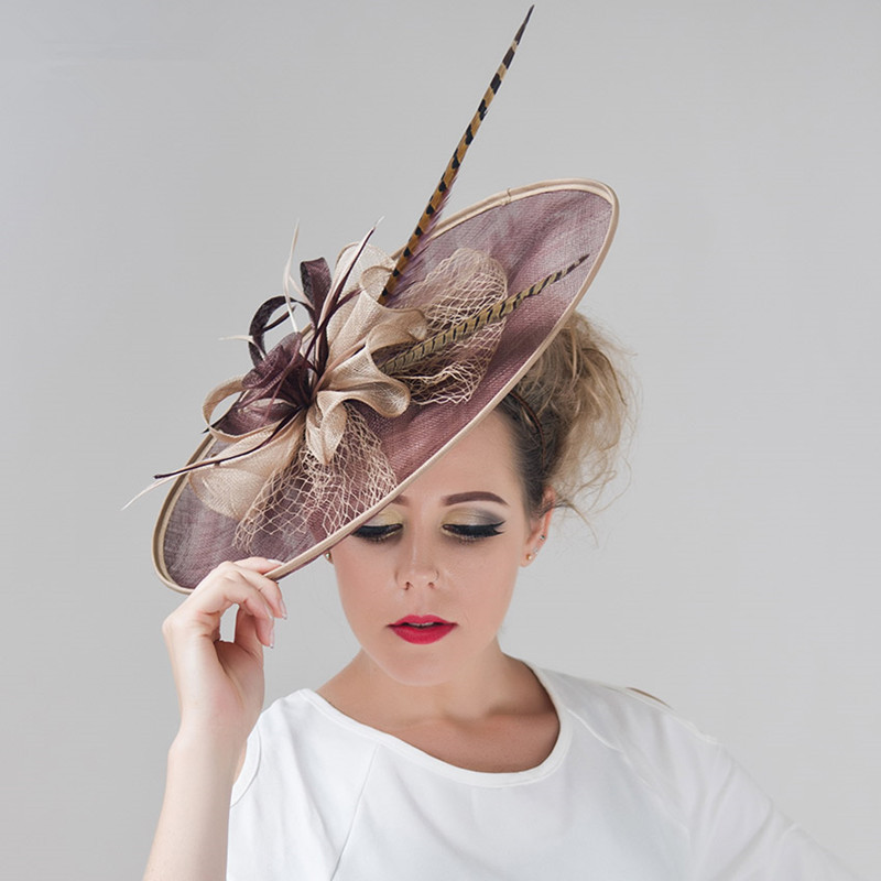 Brand 6 Colors European Large Flower Feather Mesh Wedding Hat Women Girl Vintage Sinamay Fascinators Hairband Dress Headpiece