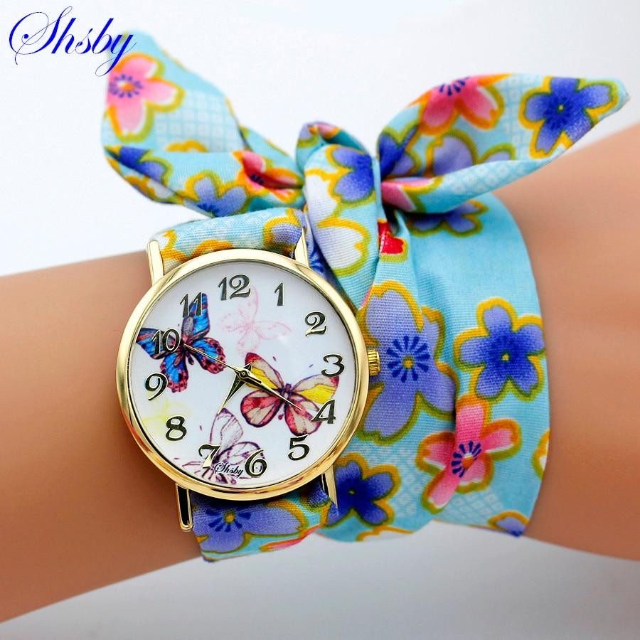 shsby brand design Ladies flower cloth wristwatch fashion font b women b font dress font b