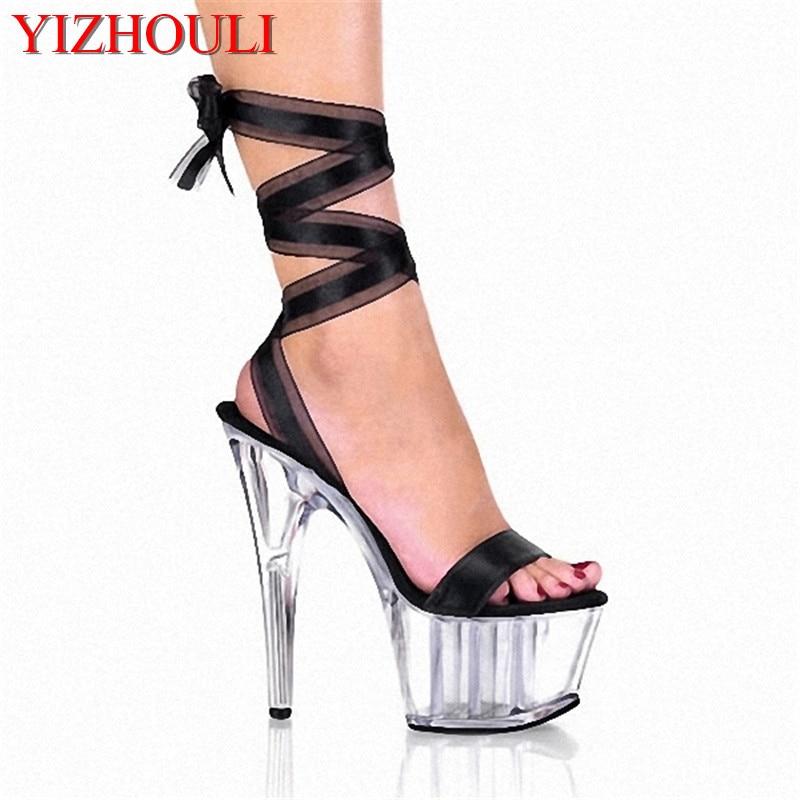 15CM Ultra High Heels Shoes Crystal Ribbon Platform Sandals 6 Inch Heel Interchangable Ribbon Laces Includes Colour Ribbons 15cm ultra high heels sandals ruslana korshunova platform crystal shoes the bride wedding shoes
