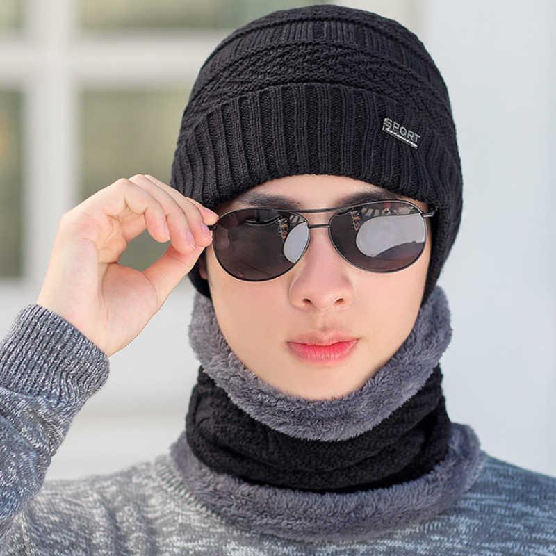 冬のニットウールのスカーフキャップとスカーフセット男性用厚い男性スカーフ帽子セット男性ネッカチーフエレガントな男性帽子キャップ