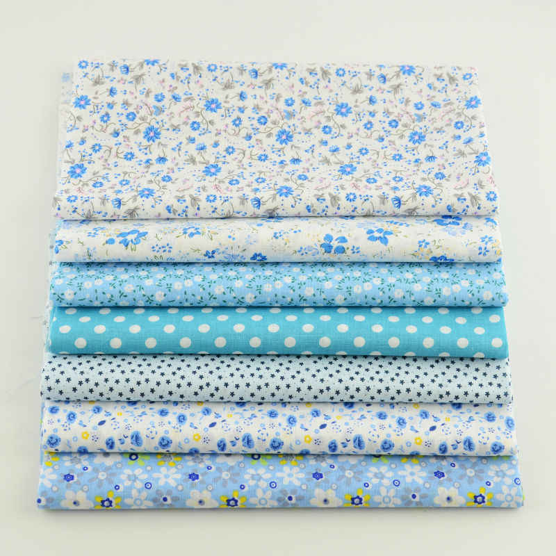 Booksew 7 Pcs/Lot Cotton Fabric Printed Floral And Dots Pattern Light Blue Sets Fabric Square Quilting DIY Doll Desk Cloths