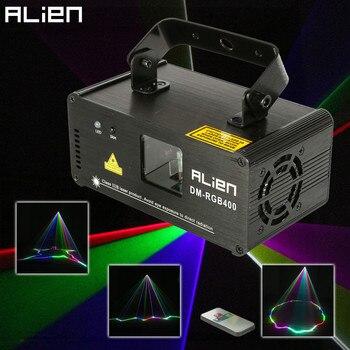 Лазерный сканер ALIEN, дистанционный RGB 400 МВт, DMX512, сценический световой эффект, проектор, для DJ, танцев, рождественской вечеринки, диско-шоу