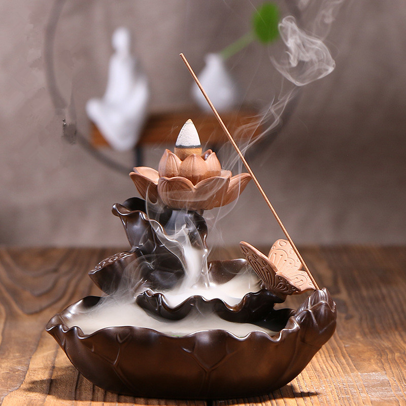 Backflow Incense Cones Burner Lotus Pond Creative Classical Home Decor Burner Incense Stick Holder CenserBackflow Incense Cones Burner Lotus Pond Creative Classical Home Decor Burner Incense Stick Holder Censer