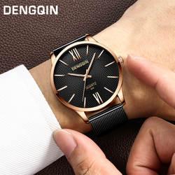 Роскошные модные повседневное золотистый и черный для женщин для мужчин часы браслет Кварцевые Спортивные Военная Униформа