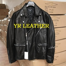 YR!Free shipping.Pakistan 1mm tanning sheepskin.Brand Luxury biker style leather jacket,mens slim thick genuine leather coat,