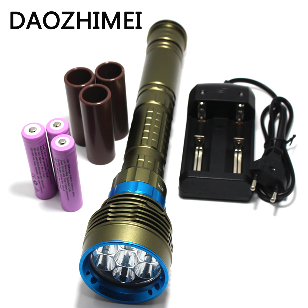 2018 New Diving torch 7 x XM-L2 LED Lantern 200M Underwater 14000 Lumens Scuba Diving Flashlight Dive Torch Lamp for Hunting led diving flashlight high brightness 3x xm l l2 6000lm dive torch light scuba diving flashlight for swimming underwater hunting